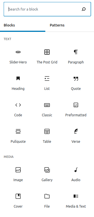 Wordpress's Gutenberg blocks