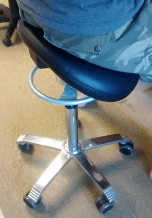 Working at Sereno with a saddle stool