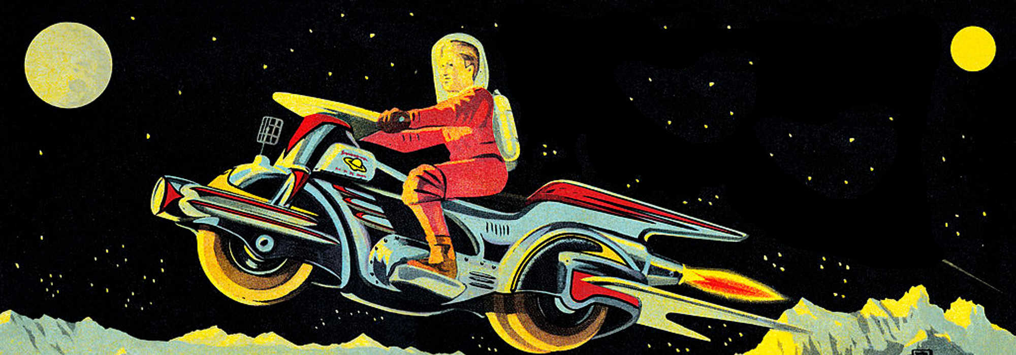 Retro space bike rider