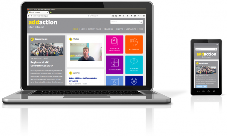 Addaction intranet on a laptop and mobile device