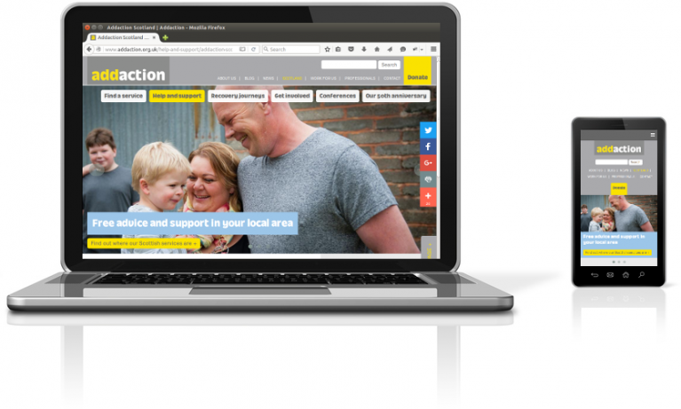 Addaction website on a laptop and mobile device