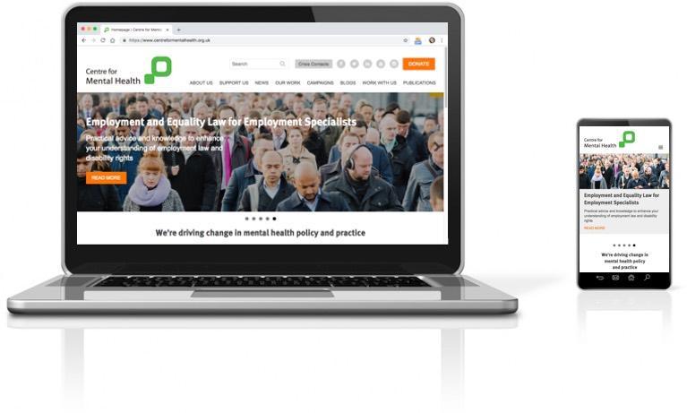 Screenshot of Centre for Mental Health website