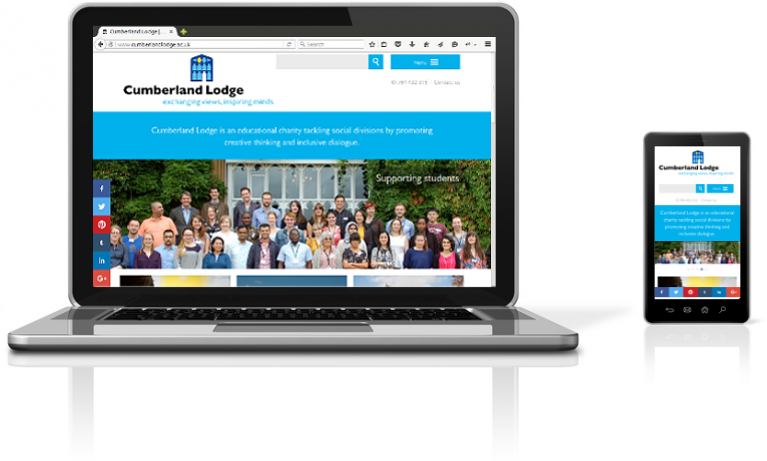 Cumberland Lodge website on a laptop and mobile device