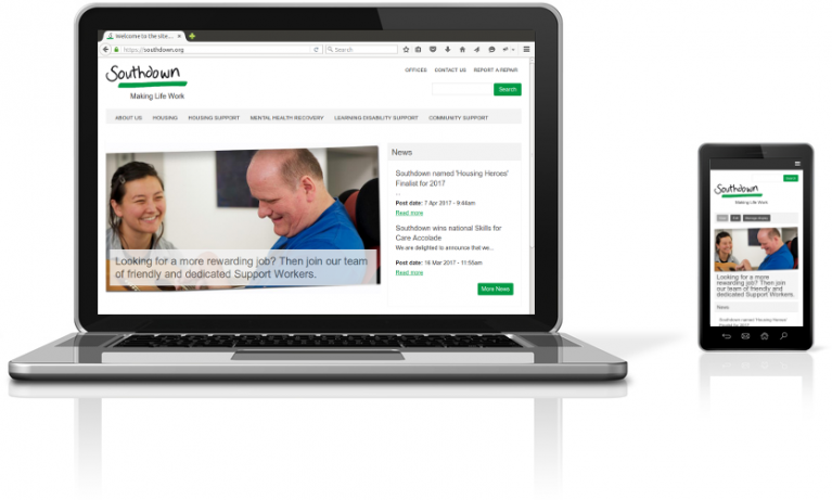 Southdown Housing Association website on a laptop and mobile device