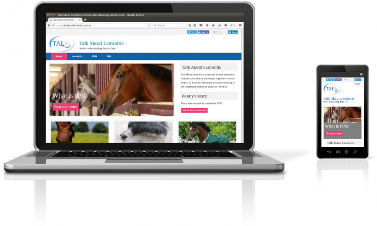 Talk About Laminitis intranet on a laptop and mobile device