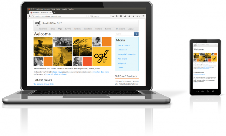 TUPE multisite intranet on a laptop and mobile device